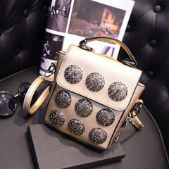 New Fashion Women Synthetic Leather Hollow Out Button Decorated Handbag/Shoulder Bag/Messenger Bag - Oh Yours Fashion - 3