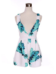 V-neck Backless Print Short Jumpsuit - Oh Yours Fashion - 5