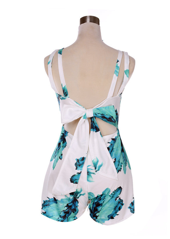 V-neck Backless Print Short Jumpsuit - Oh Yours Fashion - 4