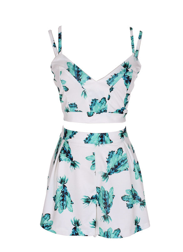 Backless Print Two Pieces Top Shorts Set Dress Suits - Oh Yours Fashion - 2