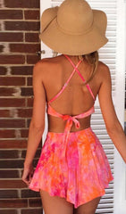 Cross Back Backless Crop Top with Shorts Two Pieces Dress Set - Oh Yours Fashion - 4