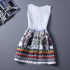 Print Pleated Short Mini Tank Dress - O Yours Fashion - 3