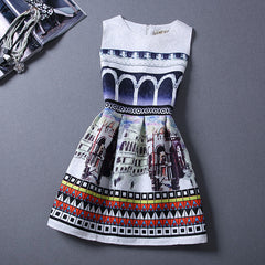 Print Pleated Short Mini Tank Dress - O Yours Fashion - 2