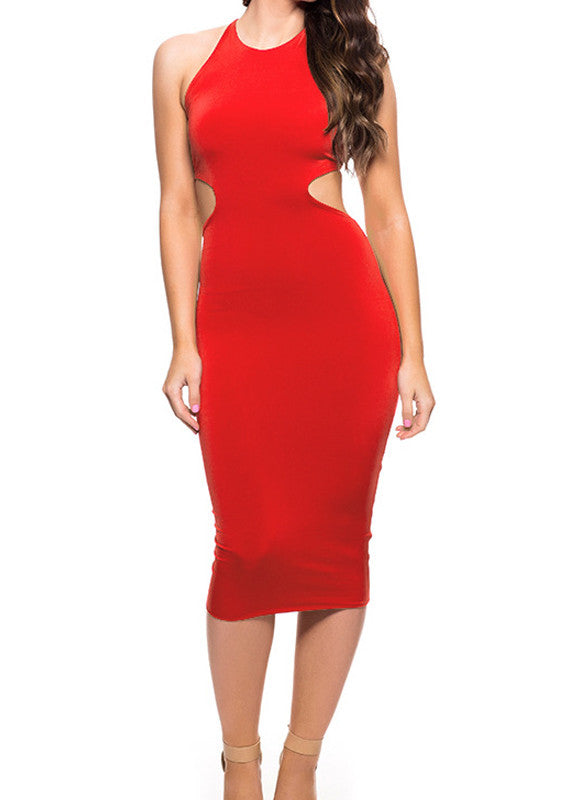 Backless Slim Bodycon Bandage Mid Calf Dress - Oh Yours Fashion - 4