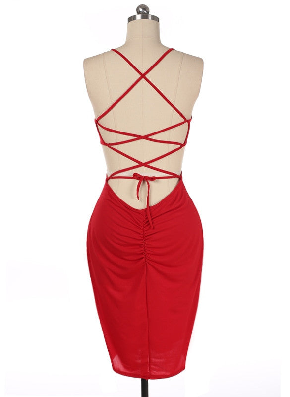 Backless Slim Bodycon Bandage Mid Calf Dress - Oh Yours Fashion - 6