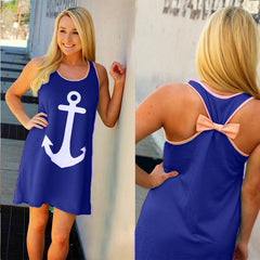 Anchor Print Back Bowknot Mini Dress - O Yours Fashion - 1