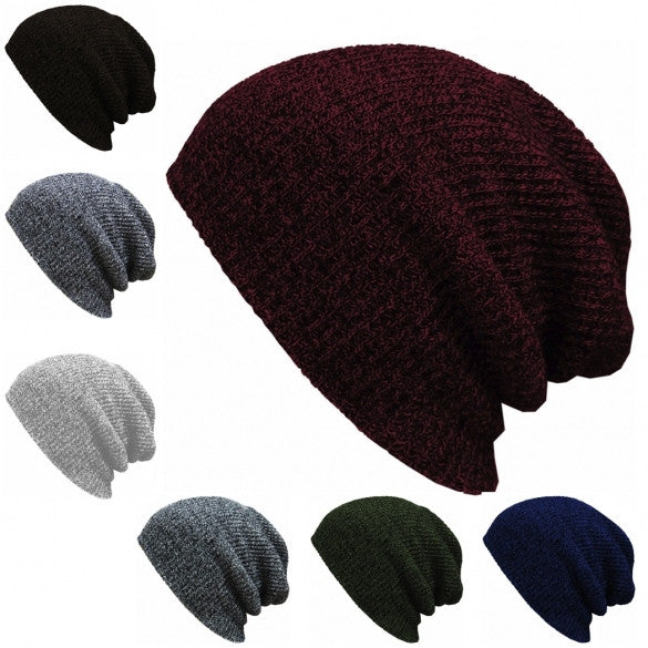 New Fashion Wool Blend Knit Unisex Men Women Beanie Oversize Spring Fall Winter Hat Ski Cap - Oh Yours Fashion - 3