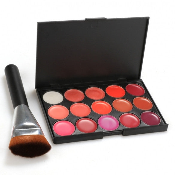 Hot 15 Color Lip Gloss Makeup Cosmetics Glossy Lip Make Up Palette + Brush Set - Oh Yours Fashion
