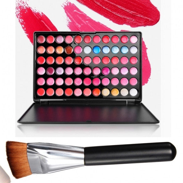 Fashion Ladies Women 66 Color Makeup Lip Gloss Palette Cosmetic With Powder Brush - Oh Yours Fashion