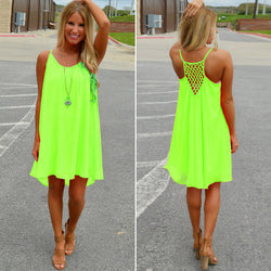Women Sexy Casual Chiffon Sleeveless Back Hollow Solid A Line Short Dress - O Yours Fashion - 1