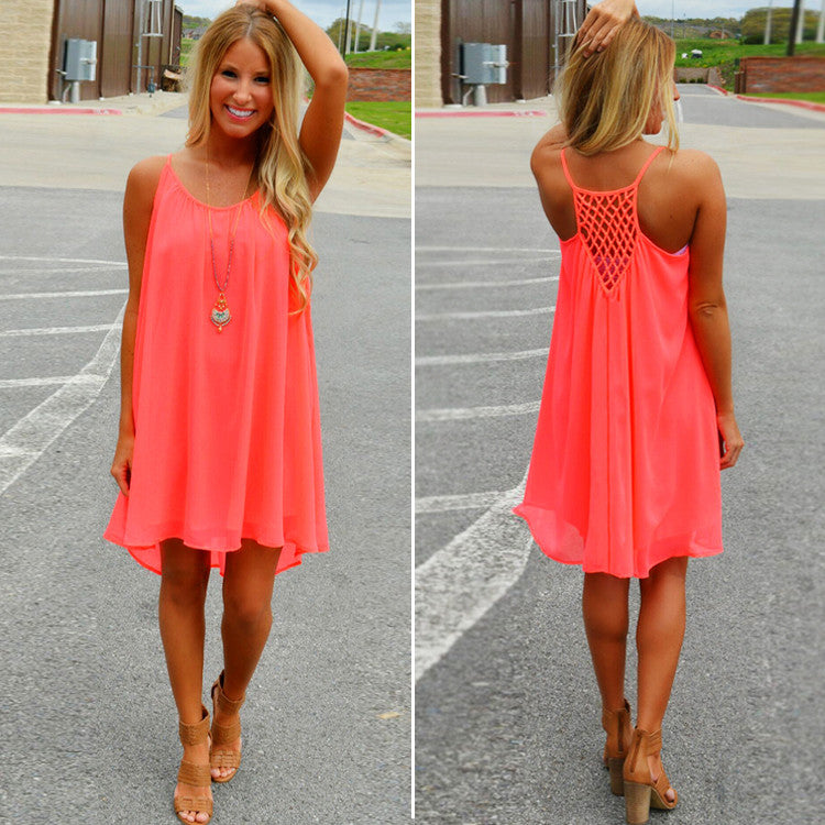 Women Sexy Casual Chiffon Sleeveless Back Hollow Solid A Line Short Dress - O Yours Fashion - 3