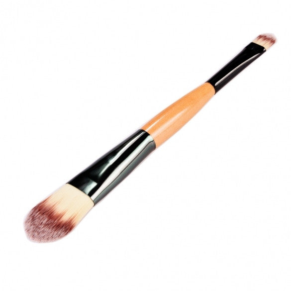 Wooden Makeup Brushes Essential Cosmetic Tools Dual Ended Face Flat Contour Foundation Brush Lip Brush - Oh Yours Fashion