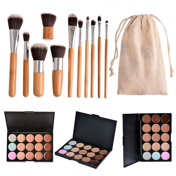 Professional 15 Colors Contour Face Cream Makeup Concealer Palette And 11pcs Brushes Set - Oh Yours Fashion