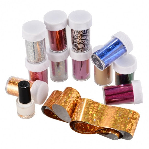 Hot Fashion Practical Nail Art Accessories 12 Colors Transfer Foil Stickers And Glue Set - Oh Yours Fashion