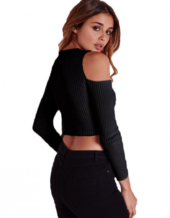 Sexy Off Shoulder Long Sleeve Stretch Solid Short Knitwear T-shirt - Oh Yours Fashion - 2