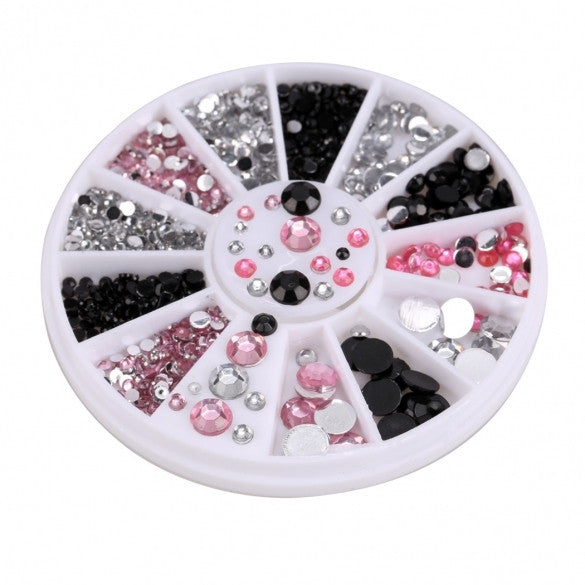 New Acrylic Nail Art Decoration Black White Pink Glitter Rhinestones - Oh Yours Fashion