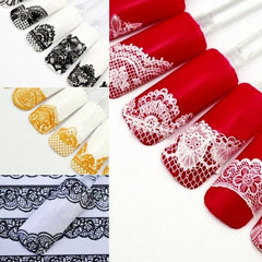 Women Manicure Tool Accessory 3D Lace Design Nail Art Decal Half Nail Sticker Decoration 24 Sheets A Set - Oh Yours Fashion - 3