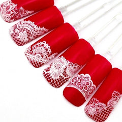 Women Manicure Tool Accessory 3D Lace Design Nail Art Decal Half Nail Sticker Decoration 24 Sheets A Set - Oh Yours Fashion - 1