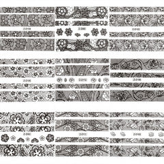 Women Manicure Tool Accessory 3D Lace Design Nail Art Decal Half Nail Sticker Decoration 24 Sheets A Set - Oh Yours Fashion - 2