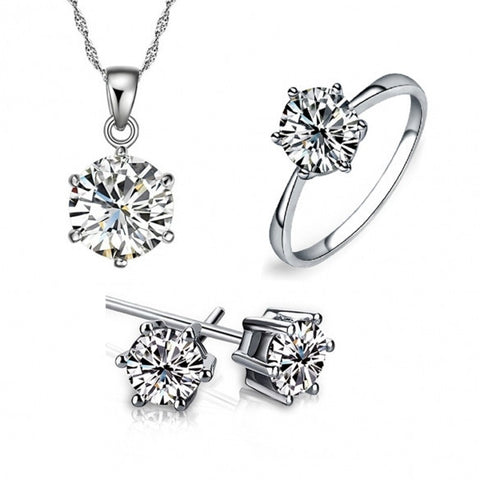 Women Classic 3PCS Rhinestone Necklace Earrings And Ring Jewelry Set