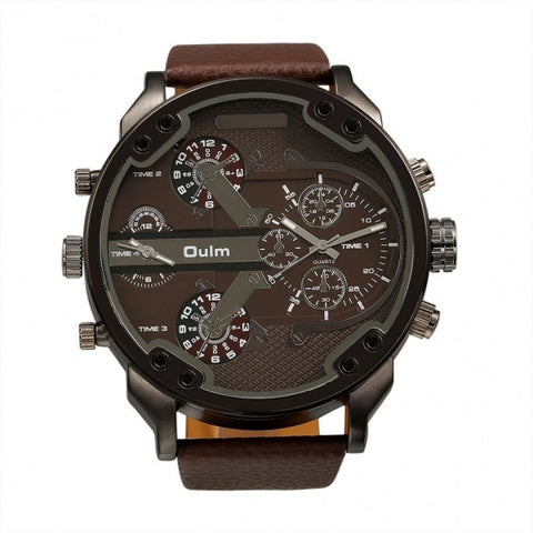 OULM Fashion Oversized Dual Dial Display Time Chronograph PU Leather Band Men's Watch
