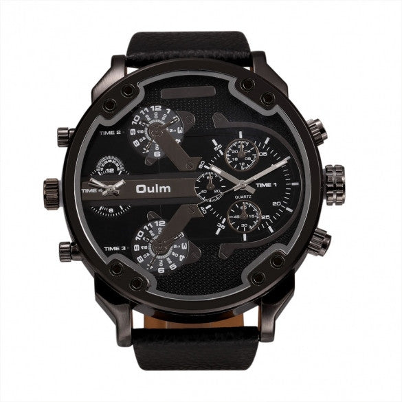 OULM Fashion Oversized Dual Dial Display Time Chronograph PU Leather Band Men's Watch - Oh Yours Fashion - 2