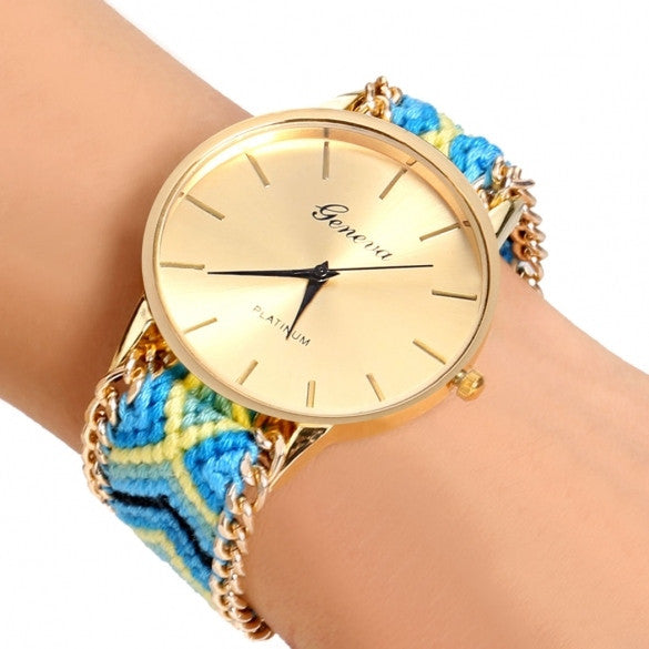 Handmade Braided Casual Women Friendship Bracelet Watch Round Dial Quartz Wrist Watch - Oh Yours Fashion - 1
