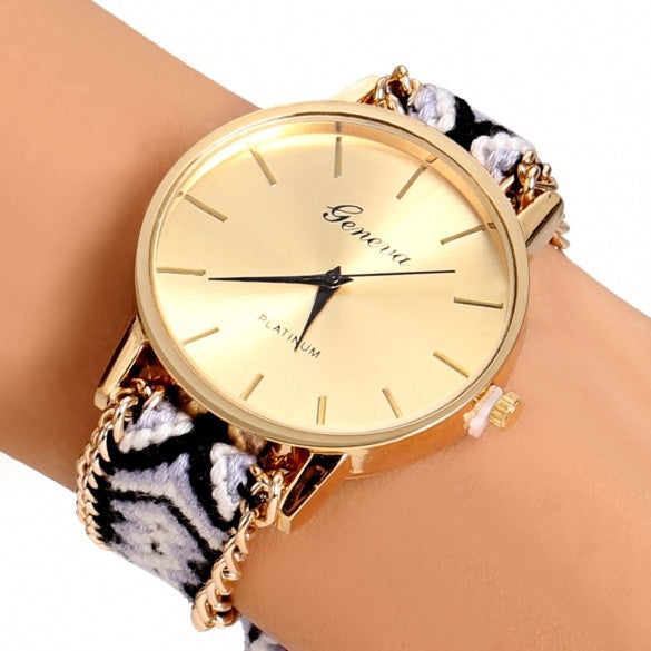Handmade Braided Casual Women Friendship Bracelet Watch Round Dial Quartz Wrist Watch - Oh Yours Fashion - 2
