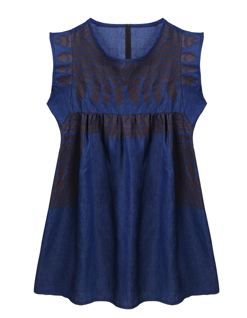Women Print Sleeveless Denim Dress - Oh Yours Fashion - 7