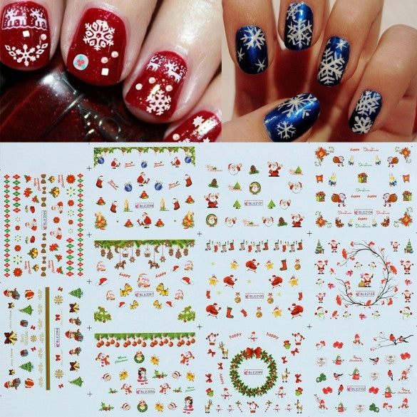 Fashion Christmas Water Transfer Nail Art Tips Sticker Decal DIY Manicure Decoration - Oh Yours Fashion