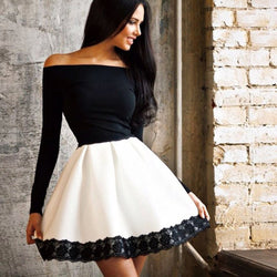 Off Shoulder High Waist Patchwork Lace-trimmed Short Dress - MeetYoursFashion - 1