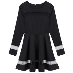 Stylish Women Sexy Long Sleeve High Waist Casual Patchwork Mini Pleated Dress - O Yours Fashion - 5