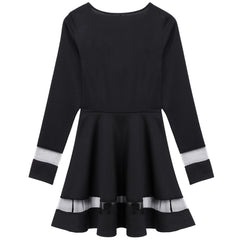 Stylish Women Sexy Long Sleeve High Waist Casual Patchwork Mini Pleated Dress - O Yours Fashion - 6