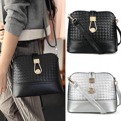 Fashion Korean Women Synthetic Leather Shoulder Small Bag Tote Weave Pattern Clutch Handbag Purse - Oh Yours Fashion - 2