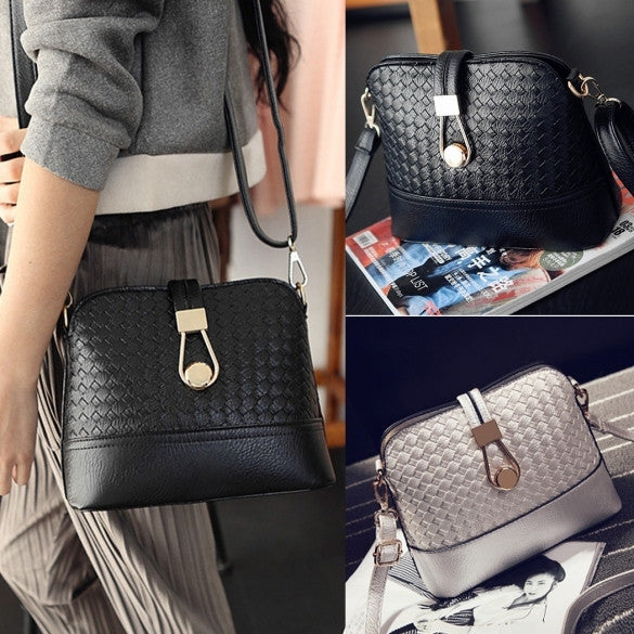 Fashion Korean Women Synthetic Leather Shoulder Small Bag Tote Weave Pattern Clutch Handbag Purse - Oh Yours Fashion - 1