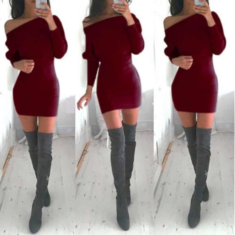 Bodycon Boat Neck Long Sleeves Short Dress - Meet Yours Fashion - 6