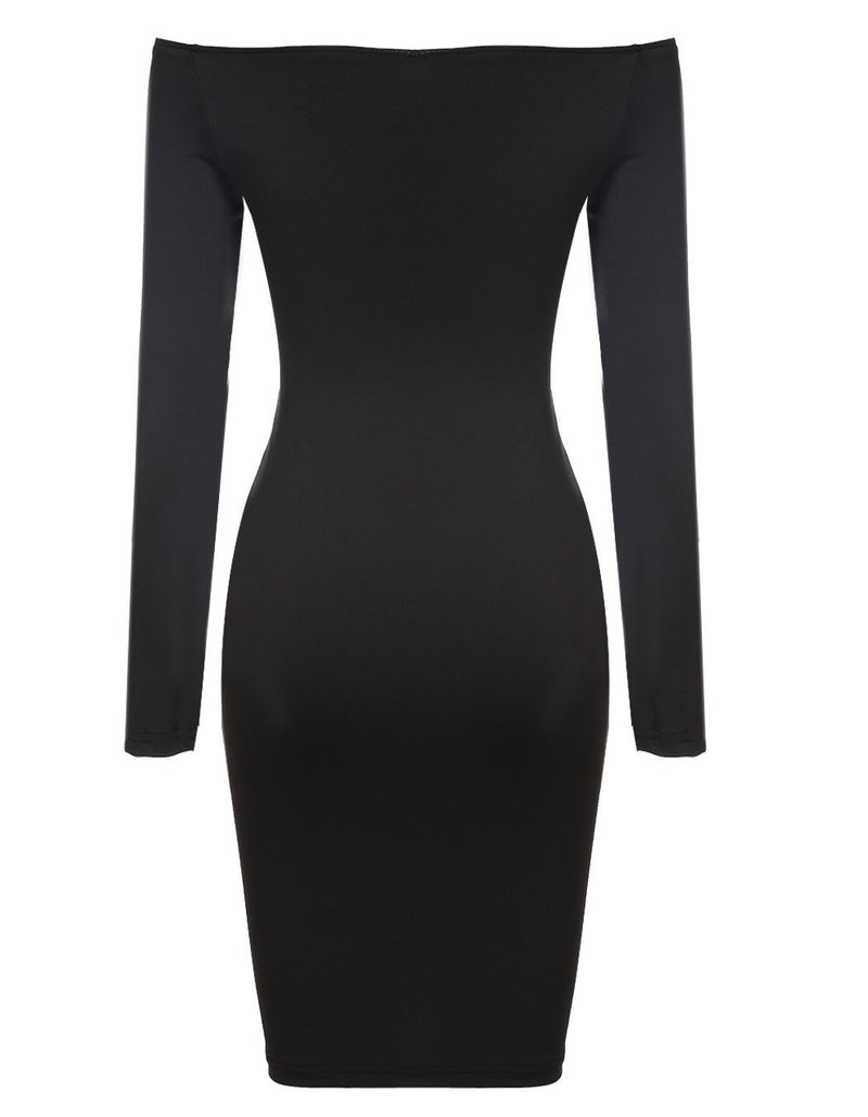 Off Shoulder Long Sleeve Button Bodycon Knee-length Dress - Meet Yours Fashion - 4