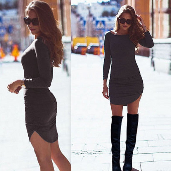 Long Sleeves Bodycon Irregular Pure Color Short Dress - O Yours Fashion - 4