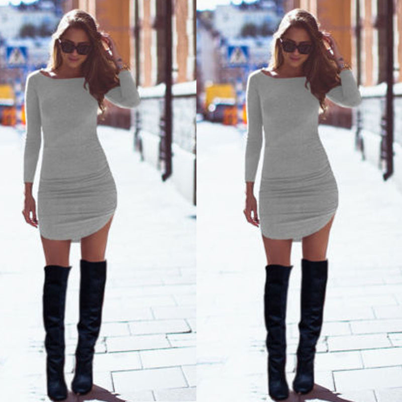 Long Sleeves Bodycon Irregular Pure Color Short Dress - O Yours Fashion - 2