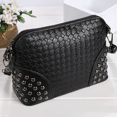 Fashion Women Synthetic Leather Braid Weave Rivets Shoulder Cross Body Bag Messenger - Oh Yours Fashion - 3