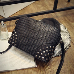 Fashion Women Synthetic Leather Braid Weave Rivets Shoulder Cross Body Bag Messenger - Oh Yours Fashion - 2