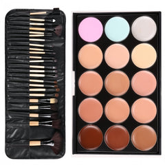 Professional 15 Colors Makeup Face Cream Concealer Palette + 24 PCS Cosmetic Brushes Kit Set - Oh Yours Fashion - 3