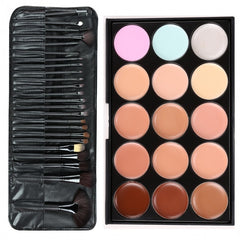 Professional 15 Colors Makeup Face Cream Concealer Palette + 24 PCS Cosmetic Brushes Kit Set - Oh Yours Fashion - 2