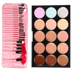 Professional 15 Colors Makeup Face Cream Concealer Palette + 24 PCS Cosmetic Brushes Kit Set - Oh Yours Fashion - 5