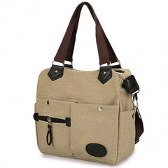 Women Canvas Many Pockets Multi-functional Shoulder Bag Handbag Cross Body Messenger Bag - Oh Yours Fashion - 1