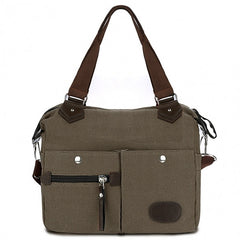 Women Canvas Many Pockets Multi-functional Shoulder Bag Handbag Cross Body Messenger Bag - Oh Yours Fashion - 3
