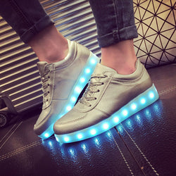 Unisex Cool LED Light Lace Up Luminous  Flat Sneaker Shoes - Meet Yours Fashion - 1
