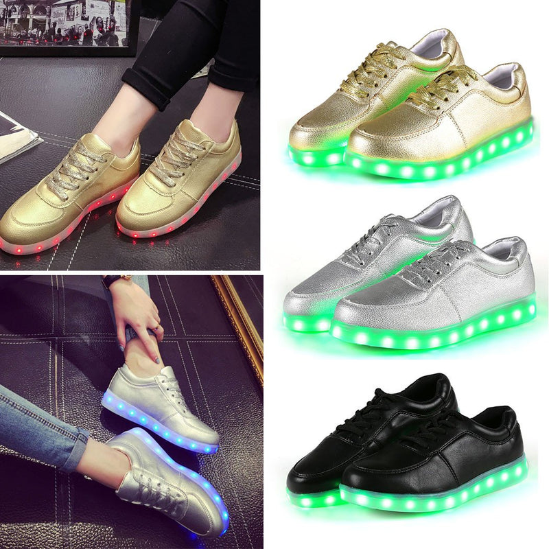Unisex Cool LED Light Lace Up Luminous  Flat Sneaker Shoes - Meet Yours Fashion - 8