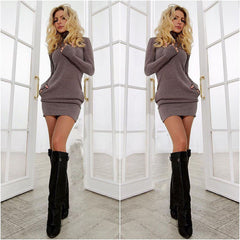 Spring Fall Casual Long Sleeves Package Hip Short Sweater Dress - Oh Yours Fashion - 1
