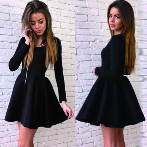 Long Sleeves Zipper High Waist Pleated Little Black Dress - O Yours Fashion - 1